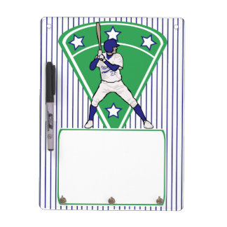 Personalized Baseball Batter Star Blue Dry-Erase Board