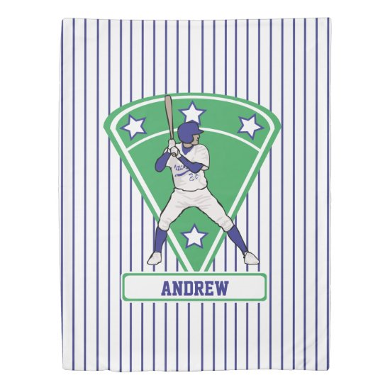 Personalized Baseball Batter Star Blue Duvet Cover