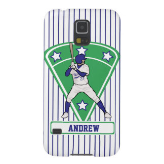 Personalized Baseball Batter Star Blue Galaxy S5 Cover