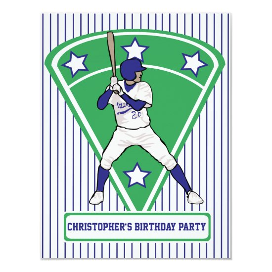 Personalized Baseball Batter Star Blue Invitation
