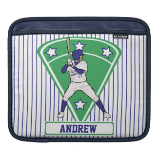 Personalized Baseball Batter Star Blue iPad Sleeves