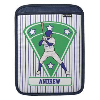 Personalized Baseball Batter Star Blue iPad Sleeve