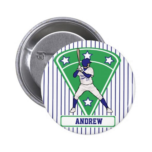 Personalized Baseball Batter Star Blue Pinback Button