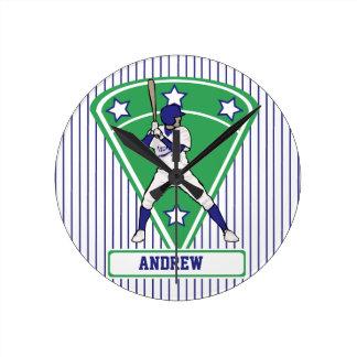 Personalized Baseball Batter Star Blue Round Clock