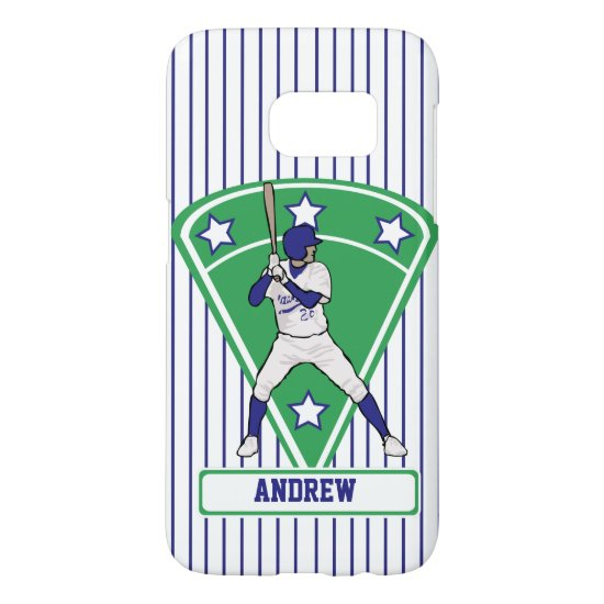 Personalized Baseball Batter Star Blue Samsung Galaxy S7 Case