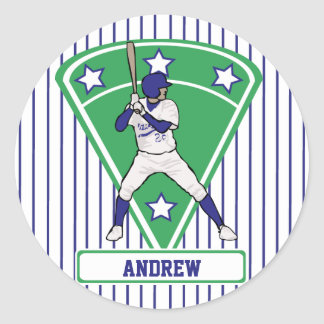 Personalized Baseball Batter Star Blue Classic Round Sticker