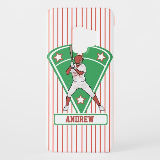 Personalized Baseball Batter Star Red Case-Mate Samsung Galaxy S9 Case