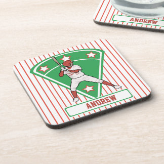 Personalized Baseball Batter Star Red Coaster