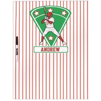 Personalized Baseball Batter Star Red Dry-Erase Board
