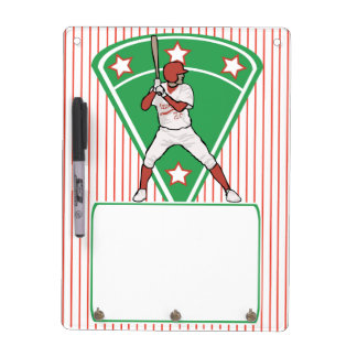 Personalized Baseball Batter Star Red Dry Erase Board