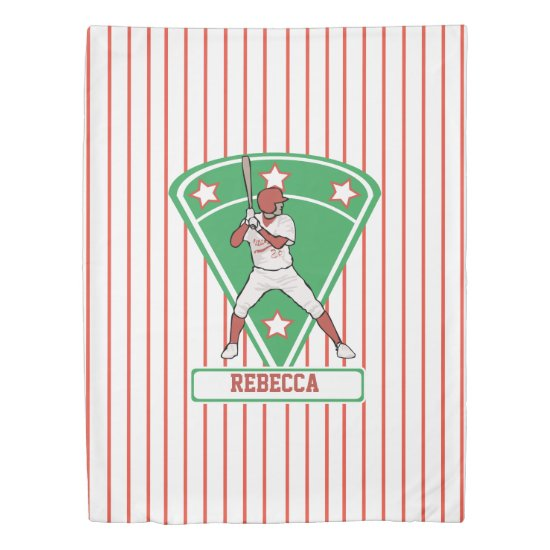 Personalized Baseball Batter Star Red Duvet Cover