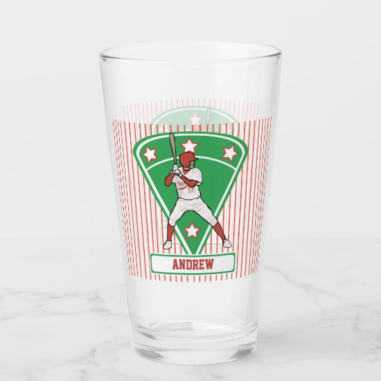 Personalized Baseball Batter Star Red Glas
