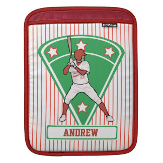 Personalized Baseball Batter Star Red Sleeve For iPads