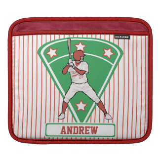 Personalized Baseball Batter Star Red iPad Sleeves