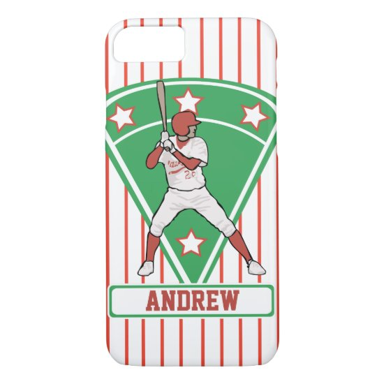 Personalized Baseball Batter Star Red iPhone 8/7 Case