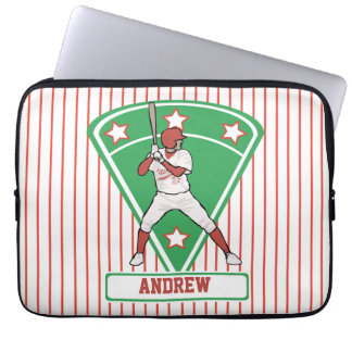 Personalized Baseball Batter Star Red Laptop Sleeve