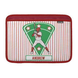 Personalized Baseball Batter Star Red MacBook Sleeve