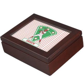 Personalized Baseball Batter Star Red Keepsake Boxes