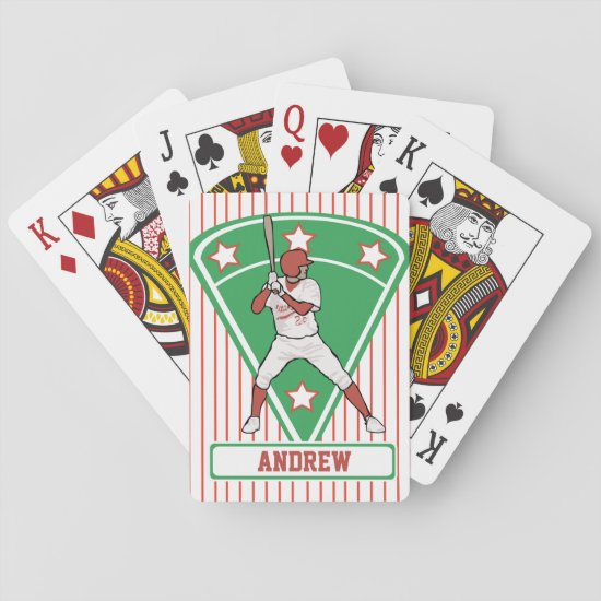 Personalized Baseball Batter Star Red Playing Cards