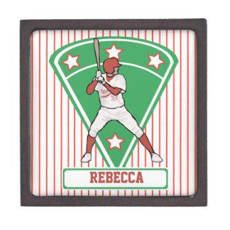 Personalized Baseball Batter Star Red Premium Trinket Box
