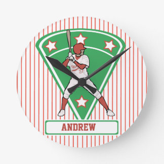 Personalized Baseball Batter Star Red Round Clock