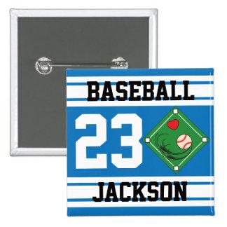 Personalized Baseball Blue Design Button