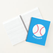 Personalized Baseball Blue Kids Sports Notebook