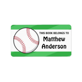 Personalized baseball bookplates for kids label