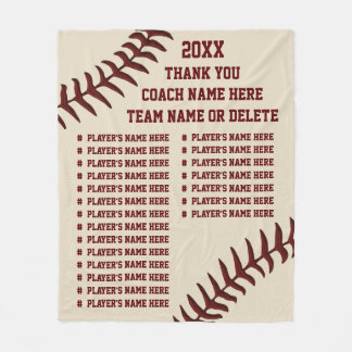 Personalized Baseball Coach Gifts, Player's NAMES Fleece Blanket