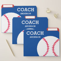Personalized Baseball Coach Red White Blue File Folder
