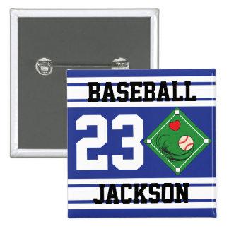 Personalized Baseball Dark Blue Design Button