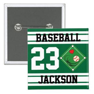 Personalized Baseball Dark Green Design Pinback Button