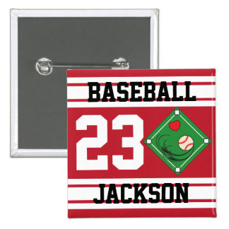 Personalized Baseball Dark Red Design Button