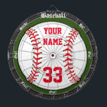 "Personalized Baseball Dartboard<br><div class=""desc"">An awesome baseball inspired dartboard perfect for the sports fan or man-cave. Features a large baseball with customizable name and number. Great for traditional dart games or for making ones of your own and fully customizable to add names,  change text,  or add images and more. Enjoy!</div>"