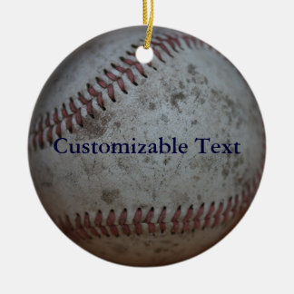 Personalized Baseball Double-Sided Ceramic Round Christmas Ornament