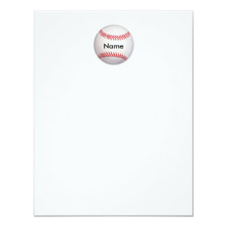 Personalized Baseball Flat Note Card