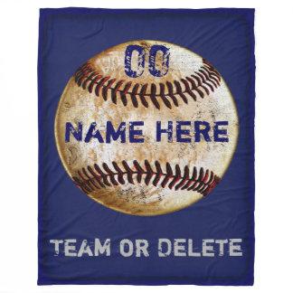 Personalized Baseball Fleece Blanket 3 Text Boxes