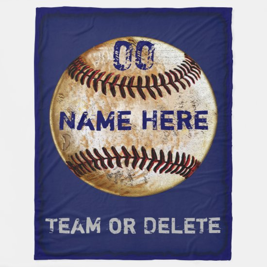 Personalized Baseball Fleece Blanket 3 Text Boxes