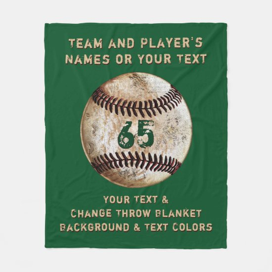 Personalized Baseball Fleece Blanket, Customizable
