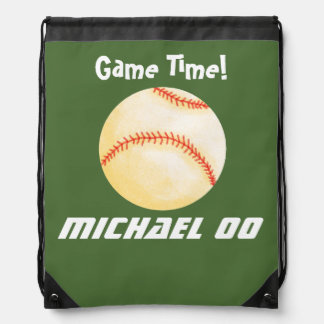 Personalized Baseball Game Drawstring Bag
