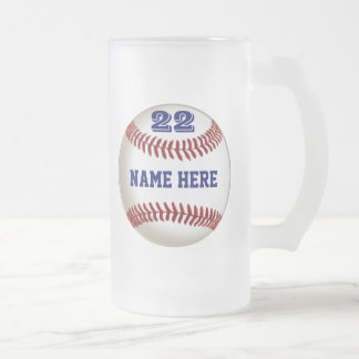 Personalized Baseball Glass Frosted or other style Frosted Glass Beer Mug
