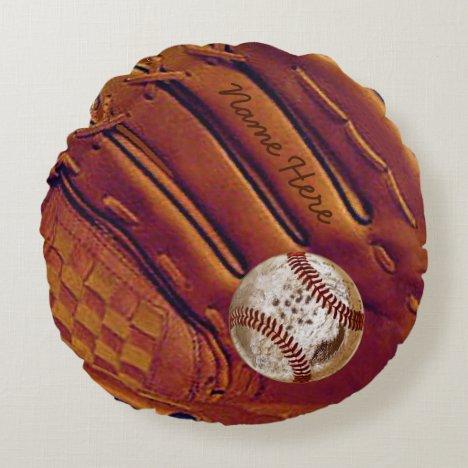 Personalized Baseball Glove Pillow, Dirty Baseball Round Pillow