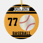 Personalized Baseball | Gold and Black Christmas Tree Ornaments
