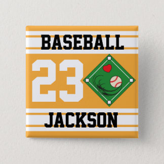 Personalized Baseball Gold Design Button