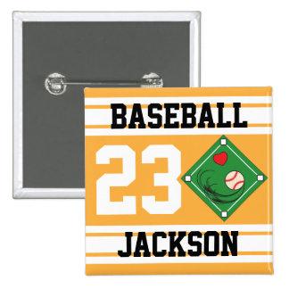 Personalized Baseball Gold Design Button