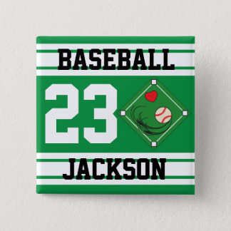Personalized Baseball Green Design Pinback Button