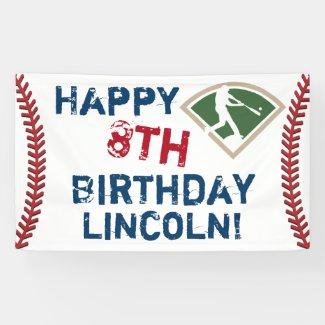 Personalized Baseball Happy Birthday Banner