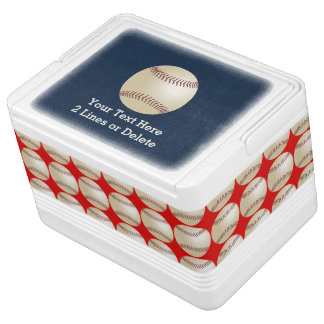 Personalized Baseball Igloo Cooler, Blue and Red Drink Cooler
