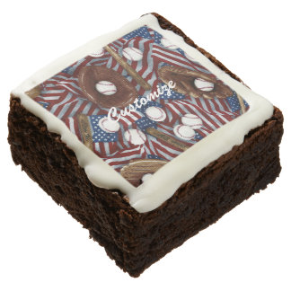 Personalized Baseball In The USA Brownies Square Brownie