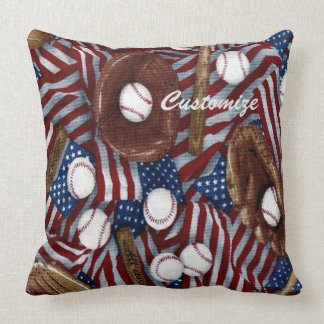 Personalized Baseball In The USA Throw Pillow